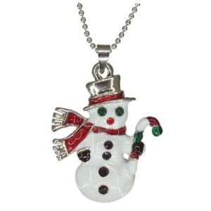 Christmas Holiday Snowman Necklace