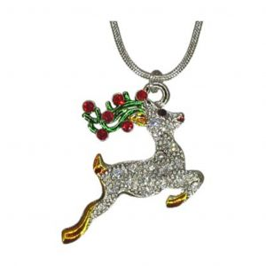 Christmas Holiday Crystal Reindeer Necklace