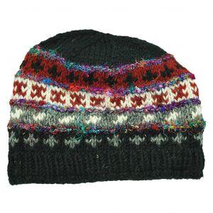 100% Woolen Hand Knit Hat with Raw Silk Stripes Fleece Lined Hat - Black
