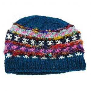 100% Woolen Hand Knit Hat with Raw Silk Stripes Fleece Lined Hat - Blue