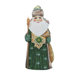 Unique Russian Hand Carved and Painted Wooden Irish Santa/grandfather Frost