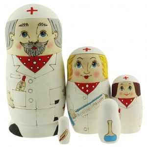 Hand Painted Doctor Family Nesting Dolls Set of 5 pcs