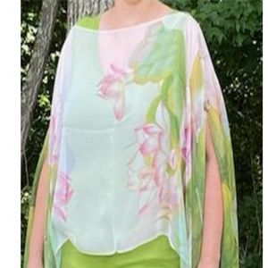 Silky Button Poncho/Cape -Green & Pink Lotus