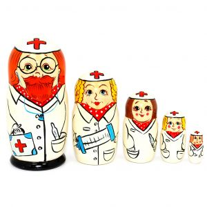 Hand Painted Doctor Family Nesting Dolls Set of 5 Pc Russian Matryoshki