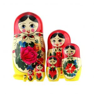 Unique Authentic Russian Hand Painted Handmade Nesting Dolls Set of 7 Pcs Matryoshkas in red