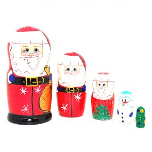 Russian Hand Painted Handmade Santa and Friends Nesting Dolls Set of 5 Pcs