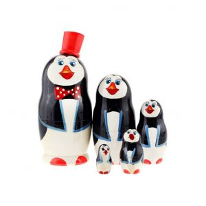 Authentic Russian Hand Painted Penguins Nesting Dolls Set of 5 Pc Matryoshkas