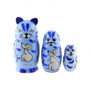 Cat & Mouse Nesting Dolls Set of 3 Hand Painted