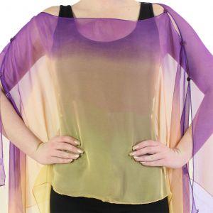 Silky Button Poncho/Cape - Purple Peach Gold