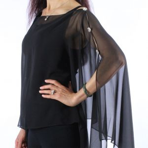 Silky Button Poncho/Cape - Black with crystal buttons