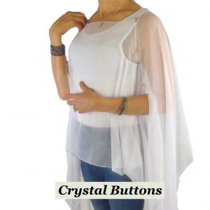 Silky Button Poncho/Cape - White with crystal buttons