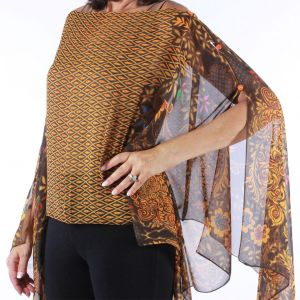 Silky Button Poncho/Cape - Brown Peacock