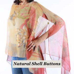 Silky Button Poncho/Cape -Red & Gold Lotus