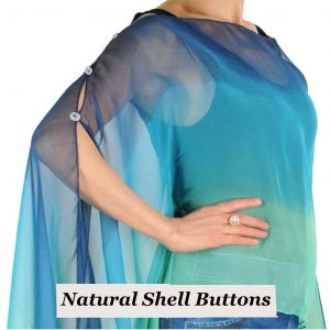 Silky Button Poncho/Cape - Tri-Blues