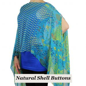 Silky Button Poncho/Cape -Turquoise Peacock