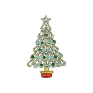 Crystal Gold Christmas Tree Pin Brooch