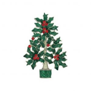 Large Green Red Christmas Tree Brooch Pin