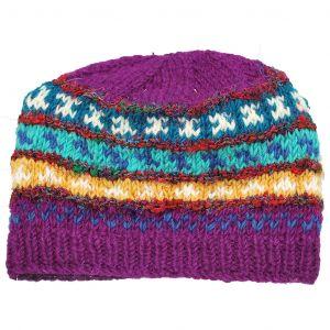 100% Woolen Hand Knit Hat with Raw Silk Stripes Fleece Lined Hat - Purple