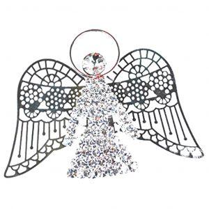 Silver Tone Color Angel Crystal Pin - Christmas Gift