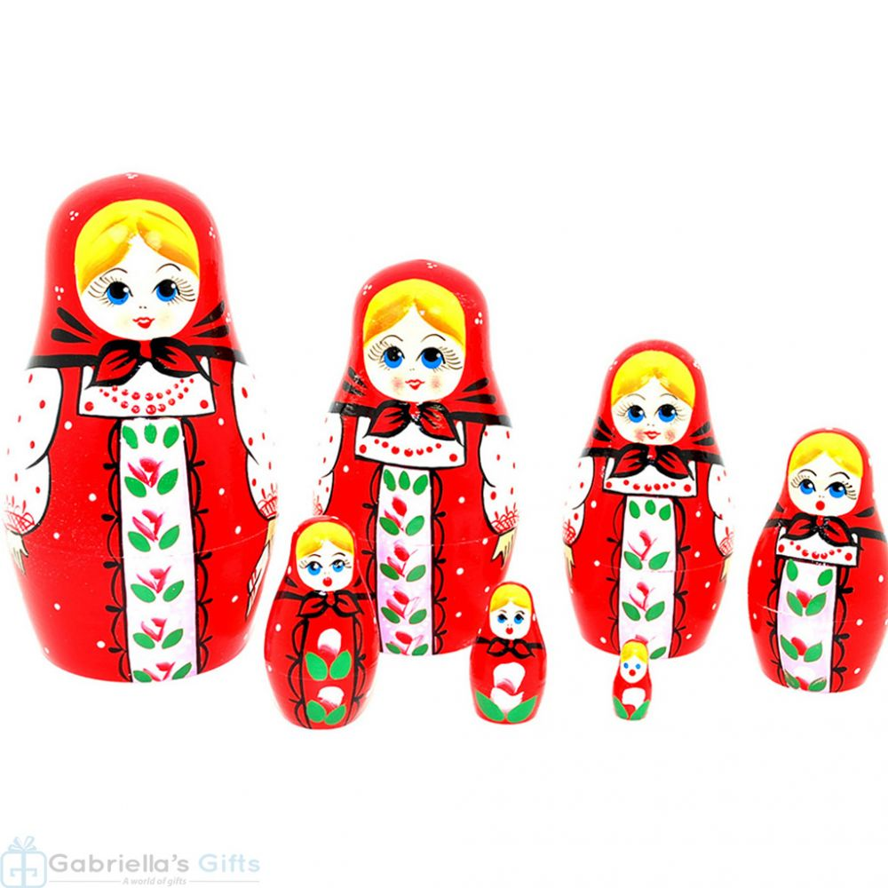 Russian Doll 5 pcs Hand Carved Painted Nest Doll Christmas Gift Signed