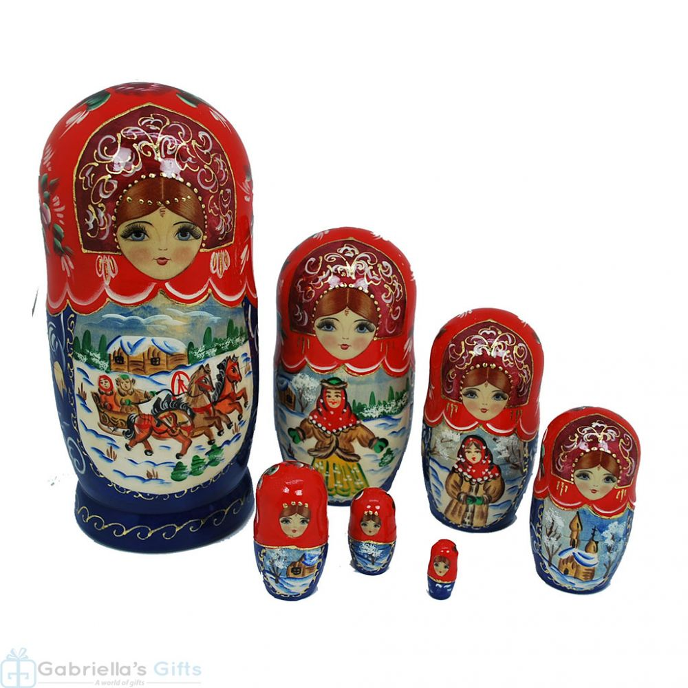 Authentic Russian Hand Painted Handmade Nesting Dolls Set of 7 Pc Matryoshkas